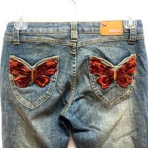 Y2k butterfly jeans BUBBLEGUM size 7 - 8